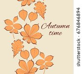 autumn leaves. vintage card.... | Shutterstock .eps vector #676846894