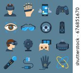 virtual reality device set. vr... | Shutterstock .eps vector #676851670