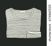 cartoon folded striped t shirt... | Shutterstock .eps vector #676860520