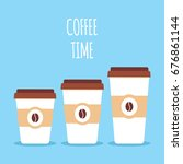coffee paper cups in three...   Shutterstock .eps vector #676861144
