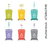 waste separation recycle bins... | Shutterstock .eps vector #676861948
