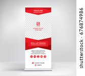 banner roll up vector  red... | Shutterstock .eps vector #676874986