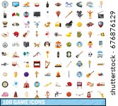 100 game icons set in cartoon... | Shutterstock .eps vector #676876129