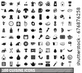 100 cuisine icons set in simple ... | Shutterstock .eps vector #676876258