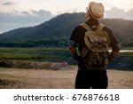 young man traveler with... | Shutterstock . vector #676876618
