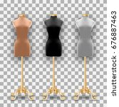 set of three mannequins fashion ... | Shutterstock .eps vector #676887463