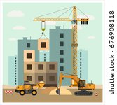 construction site with... | Shutterstock .eps vector #676908118