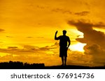 silhouette scout director show... | Shutterstock . vector #676914736