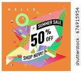 summer sale geometric style web ... | Shutterstock .eps vector #676915954