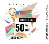 summer sale geometric style web ... | Shutterstock .eps vector #676917913