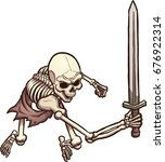 skeleton warrior in attacking... | Shutterstock .eps vector #676922314