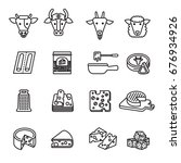 cheese icons set. line style...   Shutterstock .eps vector #676934926