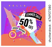 summer sale geometric style web ... | Shutterstock .eps vector #676937380