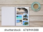 photobook album on deck table... | Shutterstock . vector #676944388