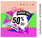 summer sale geometric style web ... | Shutterstock .eps vector #676944448