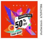 summer sale geometric style web ... | Shutterstock .eps vector #676947586
