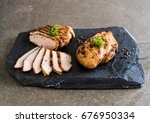 grilled chicken fillets on... | Shutterstock . vector #676950334
