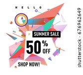 summer sale geometric style web ... | Shutterstock .eps vector #676962649