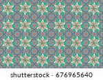 seamless floral pattern can be... | Shutterstock . vector #676965640