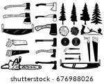 set of carpenter tools  wood... | Shutterstock .eps vector #676988026