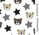 cute teddy bear with stars ... | Shutterstock .eps vector #676991176
