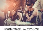 luxury dressing couple of rich... | Shutterstock . vector #676993090