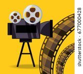 short film video camera with... | Shutterstock .eps vector #677000428