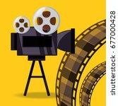 short film video camera with... | Shutterstock .eps vector #677000428