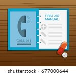 first aid manual with pill and... | Shutterstock .eps vector #677000644