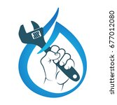water wrench in hand for repair ... | Shutterstock .eps vector #677012080