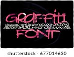graffiti font with colorful... | Shutterstock .eps vector #677014630