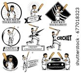 batsman sports player playing... | Shutterstock .eps vector #677018323