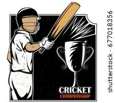 batsman sports player playing... | Shutterstock .eps vector #677018356