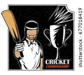 batsman sports player playing... | Shutterstock .eps vector #677018419
