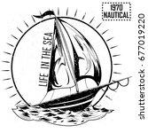 vintage retro nautical voyager... | Shutterstock .eps vector #677019220