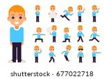 boy in different poses and... | Shutterstock .eps vector #677022718