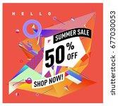 summer sale geometric style web ... | Shutterstock .eps vector #677030053
