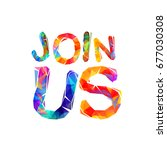 join us sign. vector colorful... | Shutterstock .eps vector #677030308