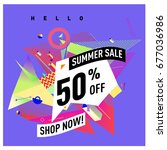 summer sale geometric style web ...   Shutterstock .eps vector #677036986