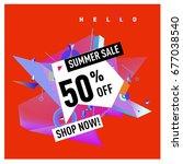 summer sale geometric style web ... | Shutterstock .eps vector #677038540