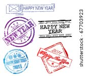 happy new year stamp set 2 | Shutterstock .eps vector #67703923