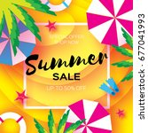 summer sale template banner.... | Shutterstock .eps vector #677041993