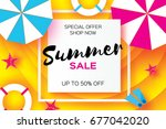 summer sale template banner.... | Shutterstock .eps vector #677042020