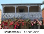 victorian style balcony with... | Shutterstock . vector #677042044