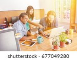 startup team in business... | Shutterstock . vector #677049280