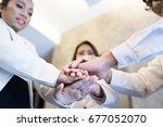teamwork join hands support...   Shutterstock . vector #677052070