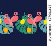 seamless border. pink flamingo... | Shutterstock .eps vector #677061619