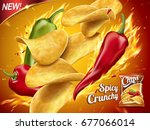 spicy potato chips ad  chips... | Shutterstock . vector #677066014