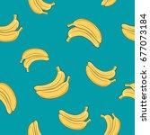 seamless pattern of banana ...   Shutterstock . vector #677073184