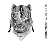 rhinoceros  rhino motorcycle ... | Shutterstock . vector #677073478